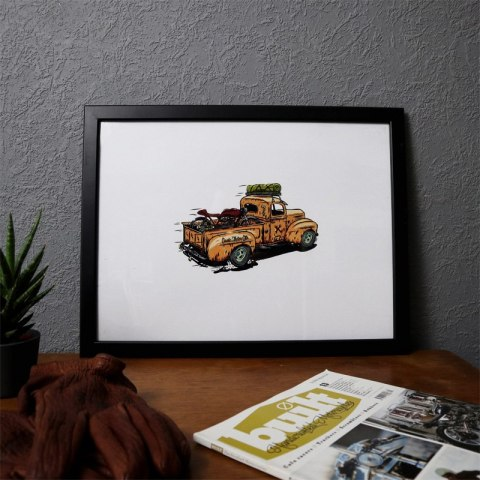 79 Point Pickup Truck with Cafe Racer - A3 Poster